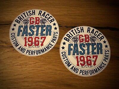 2x British Cafe Racer Aufkleber Custom GB UK Vintage Oldtimer Biker Bobber #088 (Aufkleber Custom)