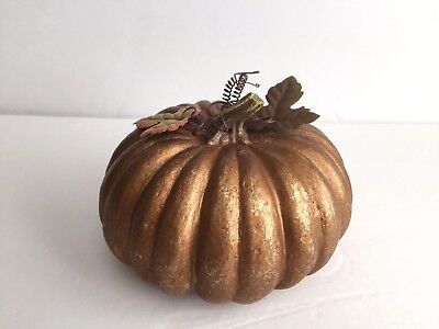 Gold Brown Resin Pumpkin with Metal Leaves Fall Home Decor Thanksgiving Table - Pumpkin With Leaves