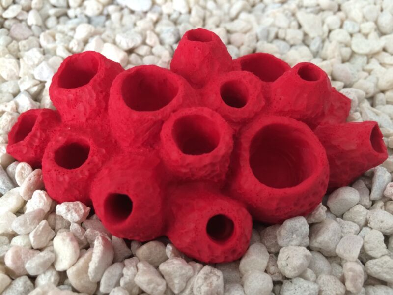 Bright Red Replica Lumpy Sponge Coral Cluster- Aquarium Nautical Decor-USA made!
