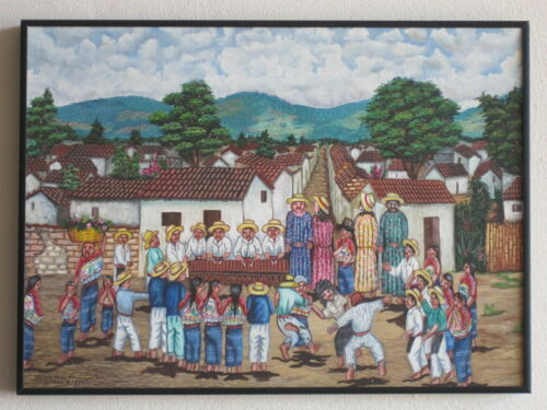 Maya Guatemala Painting Comalapa Oscar Peren Dance of the Giants Arte Naif Naive