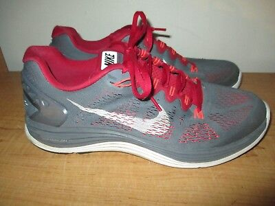 Nike Lunarglide 5 Men's Size 10 Running Shoes Gray Red - Fast Shipping