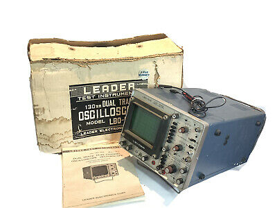 Leader Lbo-505 Dual Trace Oscilloscope In Original Box With Manual Tested Works