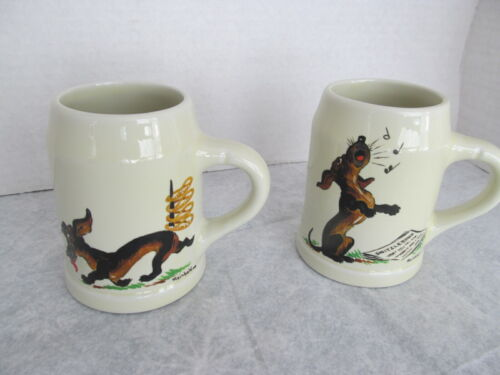 vtg pair hall  dog mugs