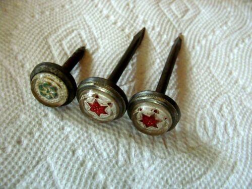 3 Victorian Sulfide Sandwich Type Glass Picture Nails Red Star & Green Flower