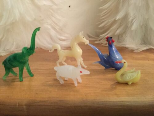 Изображение товара Miniature Vintage Hand Blown Art glass animals lot of 5
