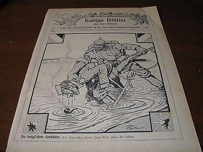 1914 Original POLITICAL CARTOON  WWI BELGIUM German Soldier WATERBOARD John Bull