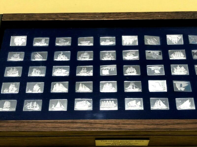 GREAT SAILING SHIPS of HISTORY Franklin Mint Silver Ingot Set Complete 50 Bars
