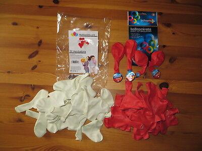 39 Herzluftballons Ø 30 cm und 4 Leuchtluftballons für Helium geeignet