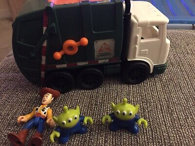TOY STORY IMAGINEXT GARBAGE TRUCK WITH WOODY AND ALIEN FIGURES VGC Dustbin Trash