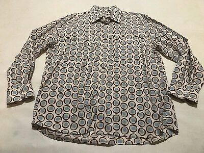Used, Men Jack Lipson Signature Blue/Brown/Yellow Circular Style Button Up Shirt Sz XL for sale  Millersville