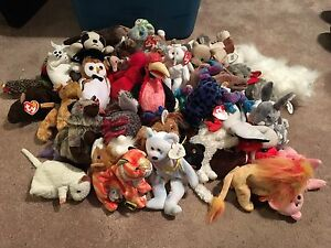 Approx 60 beanie babies from the 90s
