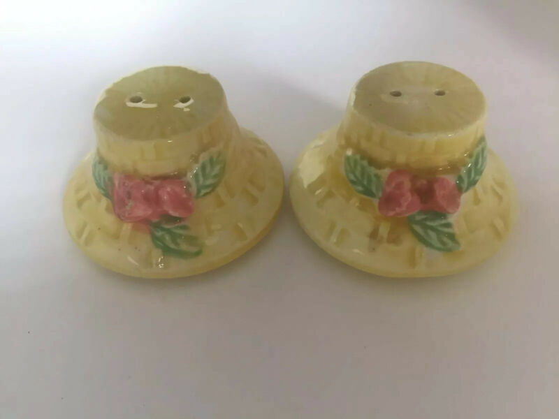 Porcelain Yellow Basketweave With Flower Salt & Pepper