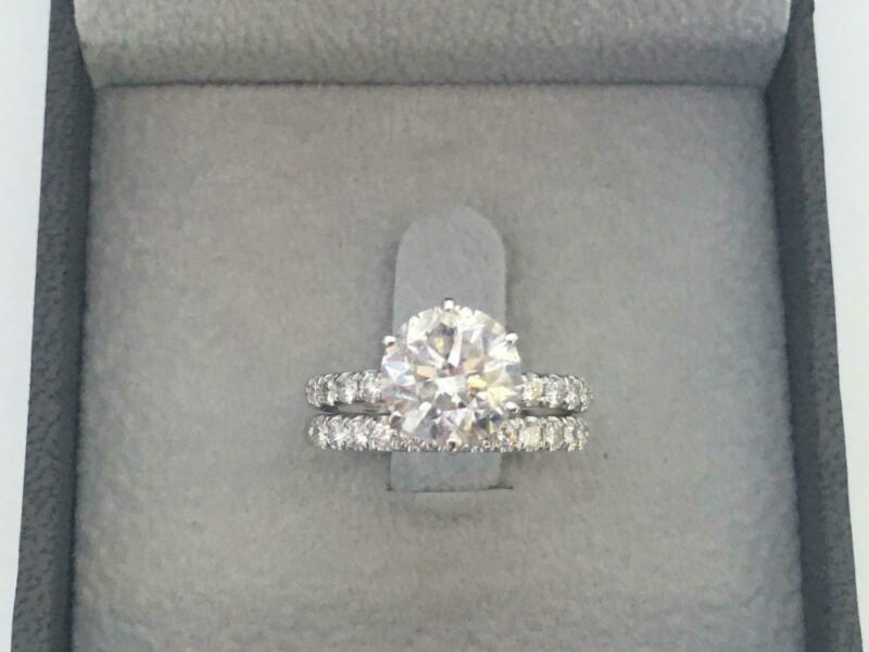 2.3 Carat Diamond Band Set Ring Colorless Vs2 Estate 14 Kt White Gold Authentic