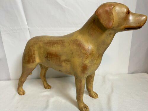 Vint MCM Sarreid Carved Wood Labrador Retriever Dog Folk Art Sculpture SARREID