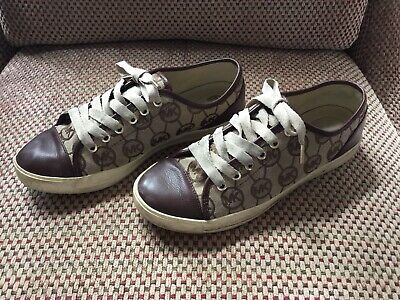 Michael Kors MK City Sneaker Shoes Brown Canvas Bronze Leather Womens 8.5 8 1/2