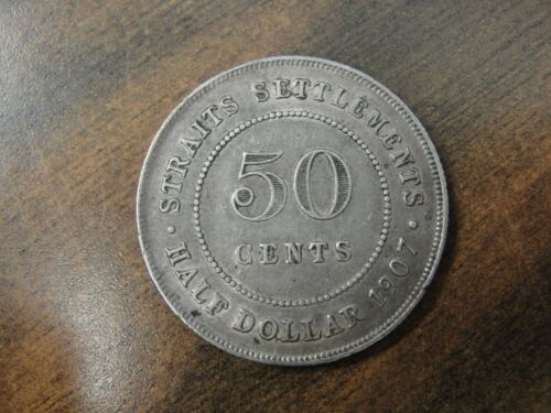1907 Straits Settlements Silver 50 Cent Coin