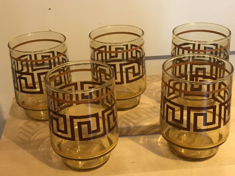5 Glasses MCM Brown Yellow Gold Rust Greek key design VTG 60's 70's 80s