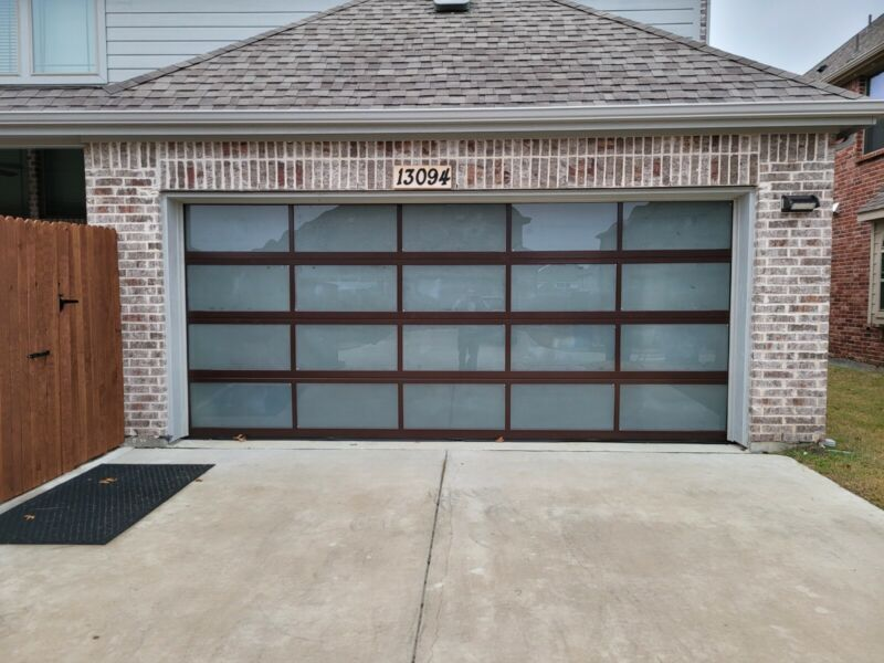 Full View Garage Door 16 ft By 8 ft Anodized Bronze Frame With Clear Glass