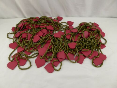 Primitive Garland Red Hearts Green Beads Appx 65+ Feet