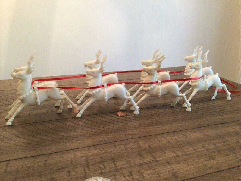 Vintage Lot of 8 mid century Plastic Reindeer Deer Figures Christmas Holiday
