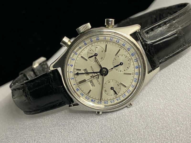 Vintage Ulysse Nardin Chronograph Stainless Steel Triple Dial Manual Watch #A591 - watch picture 1