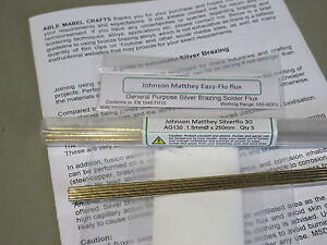 SILVER BRAZING SOLDER & FLUX KIT Johnson Matthey Ag130 x5 rods &  Easy-flo flux