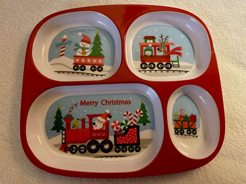 kids holiday plate divided snowman santa penguin Christmas Tray Childrens