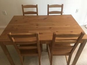 Solid wood table set with 4 chairs