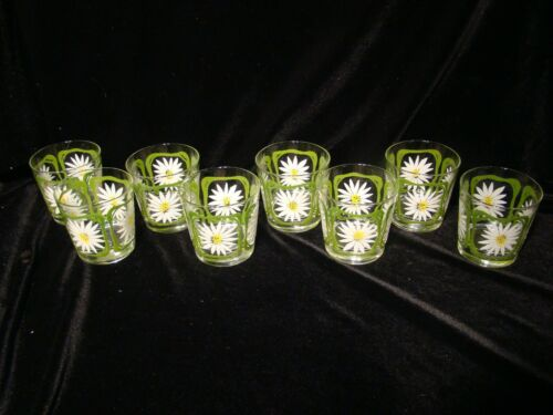 RARE MCM  VINTAGE LIBBEY PRETTY DAISY RAISED DESIGN ROCKS GLASSES LOT of 8