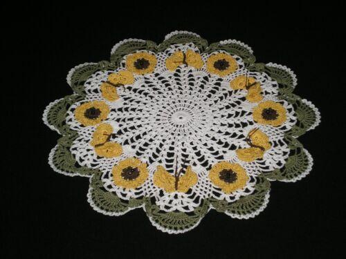 New Handmade Crocheted Doily Sunflowers/Butterflies