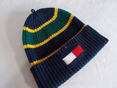NWT Tommy Hilfiger BAZZ BEANIE Cotton Knit Cap DK BLUE MULTI Cuff ADULT OS  $40 Blue Cuff Knit Beanie Cap