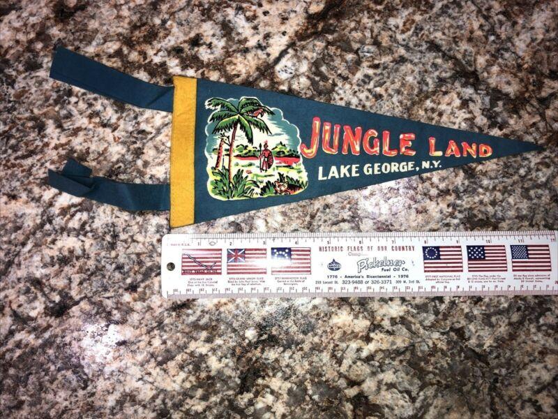 "Vintage 1969 JUNGLE LAND Lake George NY Souvenir Felt Pennant 11"" Storytown"