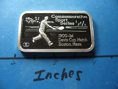 Engelhard Sport Tennis 1900 1St Davis Cup Match Boston Mass  999 Silver Bar  B