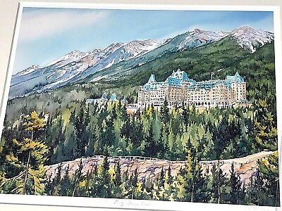 Limited Edition Lithograph  Banff Springs Hotel  Donna Jo Massie 2003 Sanofi