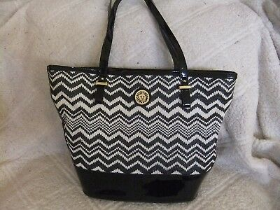 Anne Klein Black & White Woven Vinyl Trim Tote Satchel Handbag - 12