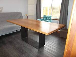 Solid Tasmanian Oak dining table on raw steel **CLEARANCE** Fremantle Fremantle Area Preview