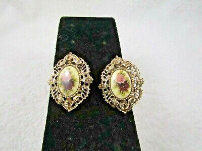 "Vintage 1928 Floral Flower Porcelain Aged Gold Tone Pierced Earrings 1 3/8 """