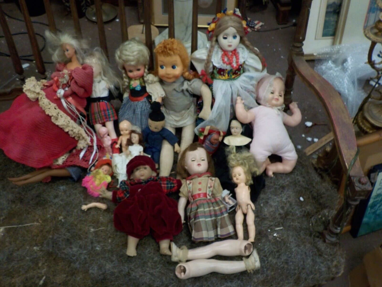 lg collection vintage dolls, antique,barbie,papoose,composition,celluloidblack67