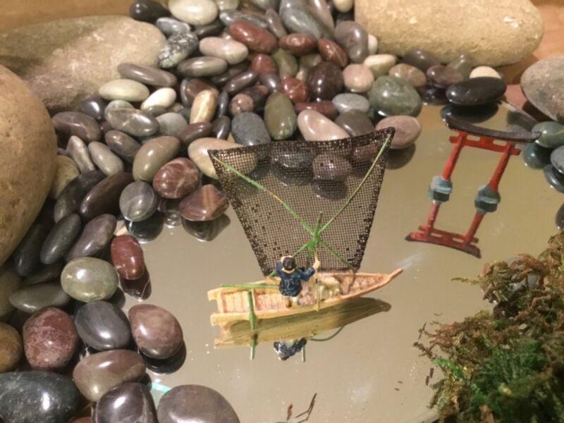 Vintage miniature sail boat  and small pagoda Japanese Bonsai, BONKEI Landscape