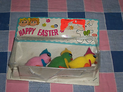 """NIP Vintage Easter Chicks  Set of 3  Pink  Green Yellow  Each about 1 7/8"""" High"""