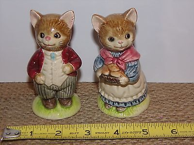 Vintage Otagiri Japan Ceramic Mr & Mrs Cat Salt & Pepper Shakers Figurines