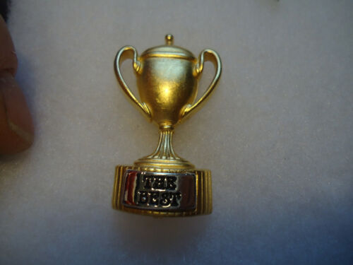 """Danecraft vtg/nos gold tone Trophy Cup """"The Best"""" pin"""