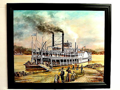 OLD GREENLAND STEAM BOAT PICTURE RIVER BOAT WILLIAM REED 1972 FRAMED 16X20