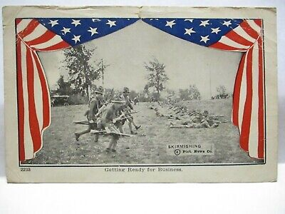 WWI PATRIOTIC PHOTO POSTCARD SKIRMISHING, READY FOR BUSINESS SOLDIERS U.S. FLAG