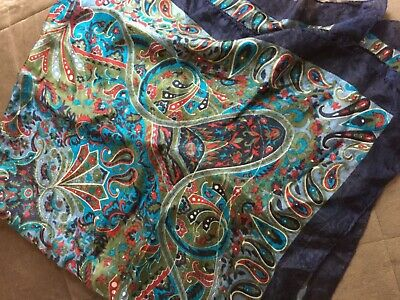 Vintage Scarf Styles -1920s to 1960s 100% pure SILK vintage paisley Scarf square large blue green navy multi boho  $19.95 AT vintagedancer.com