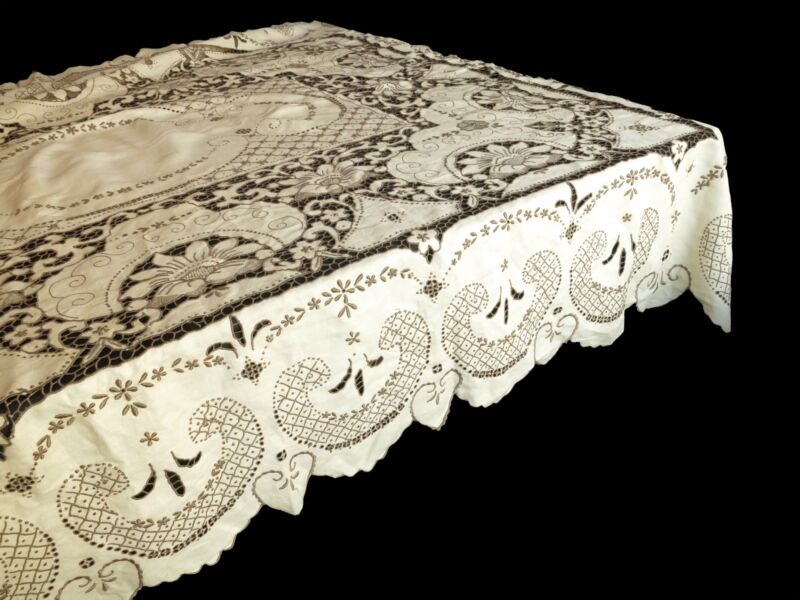 """Dramatic Antique Madeira Densely Embroidered Tablecloth 66x120"""""""