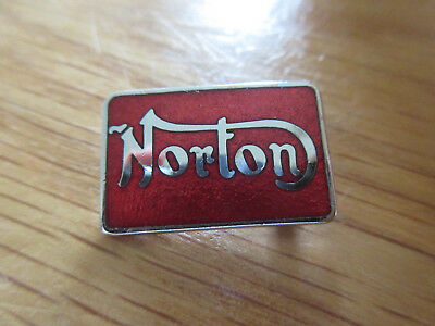 MOTORCYCLE PIN BADGE 'NORTON' RED MOTORBIKE LAPEL BADGE