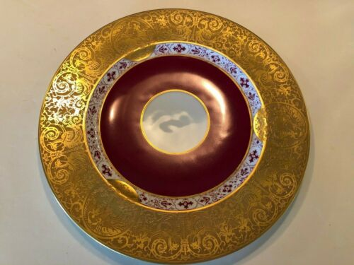 """RARE Heinrich Gold Encrusted 10 3/4"""" Plate / Charger; Selb Bavaria; Chariots"""