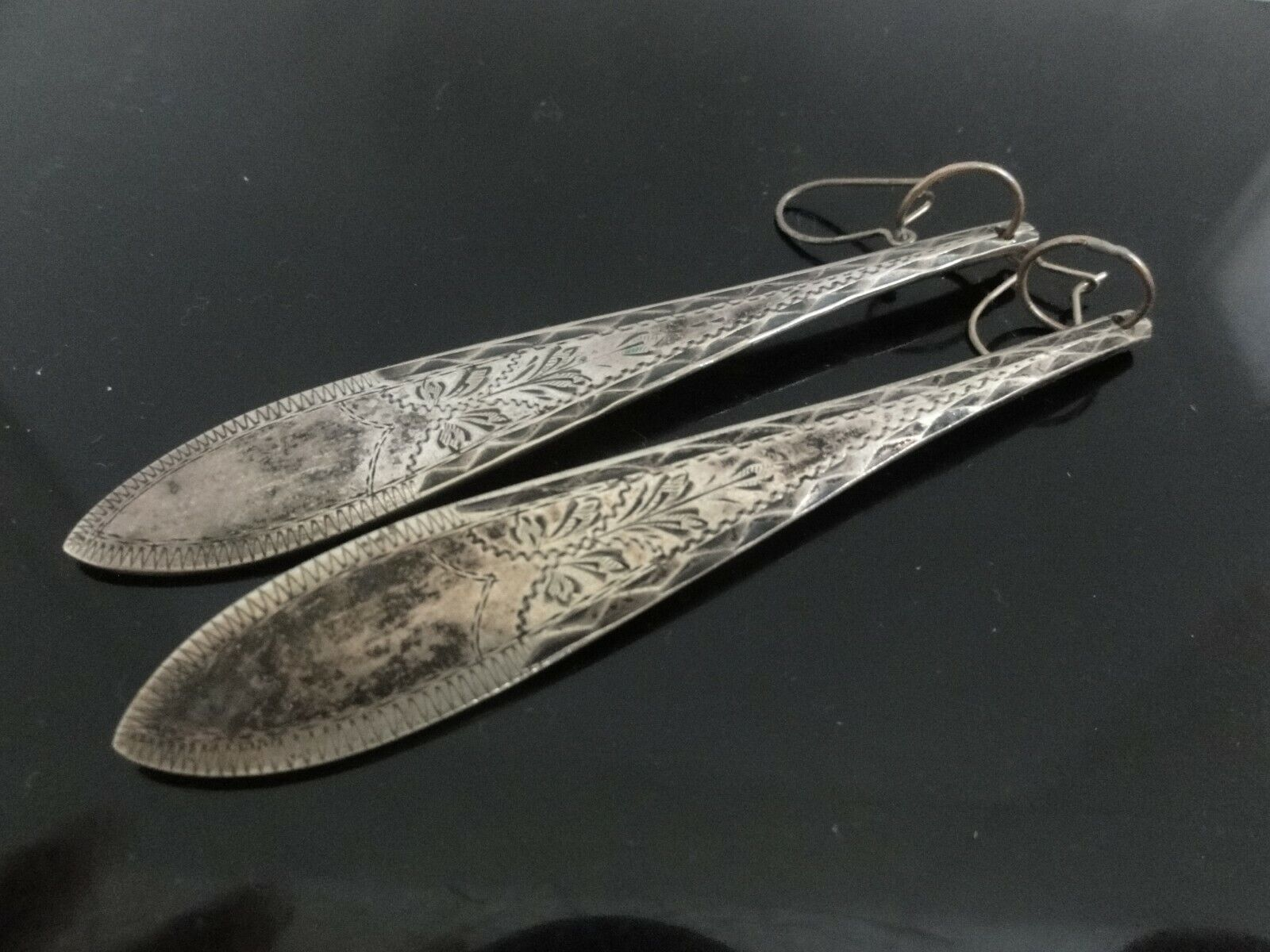ANTIQUE DANISH SPOON END Silver Pl Engraved Etched XLong Dangle Earrings SIGNED