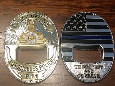 LAPD Los Angeles Police Protect and Serve Challenge Coin Bottle Opener NYPD